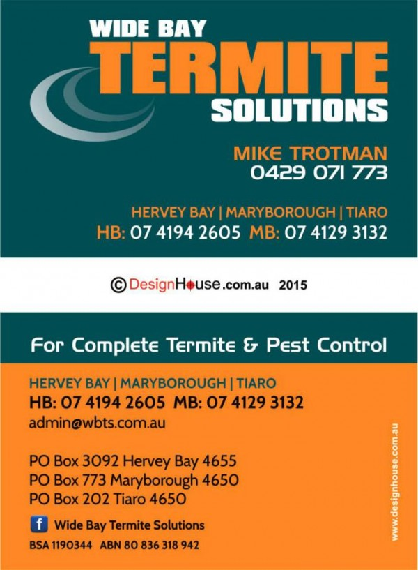 Wide Bay Termite Solutions - Business Cards