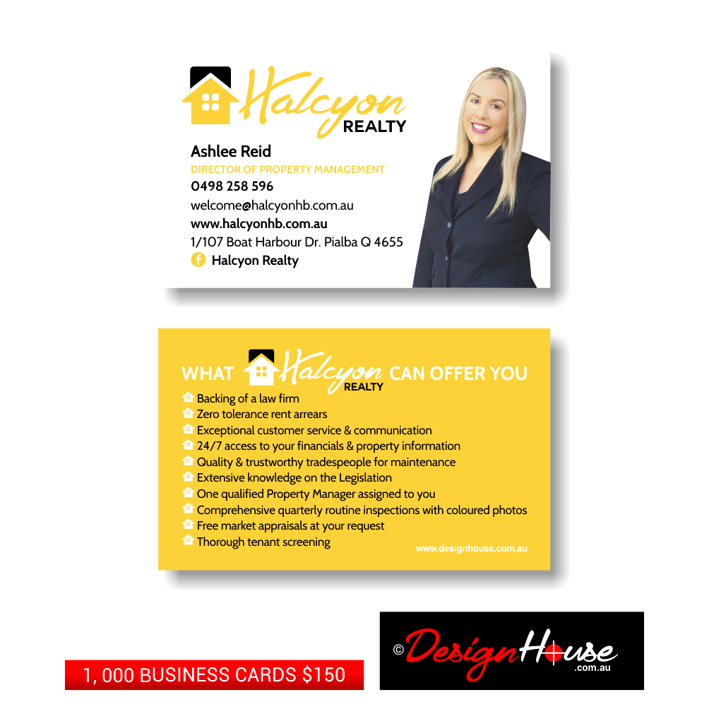 Halcyon Realty Business Cards, Design House, Graphic Design, Print, Printer, Printing, Artwork, Websites, Website Design, Website Development, Hosting, Business Cards, Logos, Billboards, Flyers, Brochures, Vehicle Signage, Signage, Social Media, Facebook, Hervey Bay, Maryborough, Fraser Coast, Queensland, Brisbane, Sunshine Coast