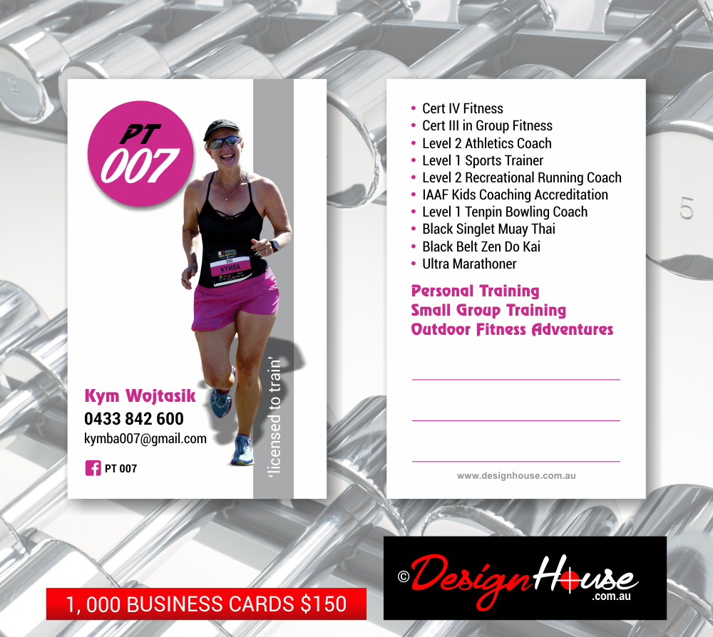Kym Wojtasik PT, Design House, Sent to Print Business Cards - Design House, Graphic Design, Website Design, Printing, Hervey Bay, Maryborough, Fraser Coast, Bundaberg, Sunshine Coast, Brisbane, Townsville, Cairns, Sydney, Melbourne, Adelaide, Perth, Darwin, Hobart, Canberra